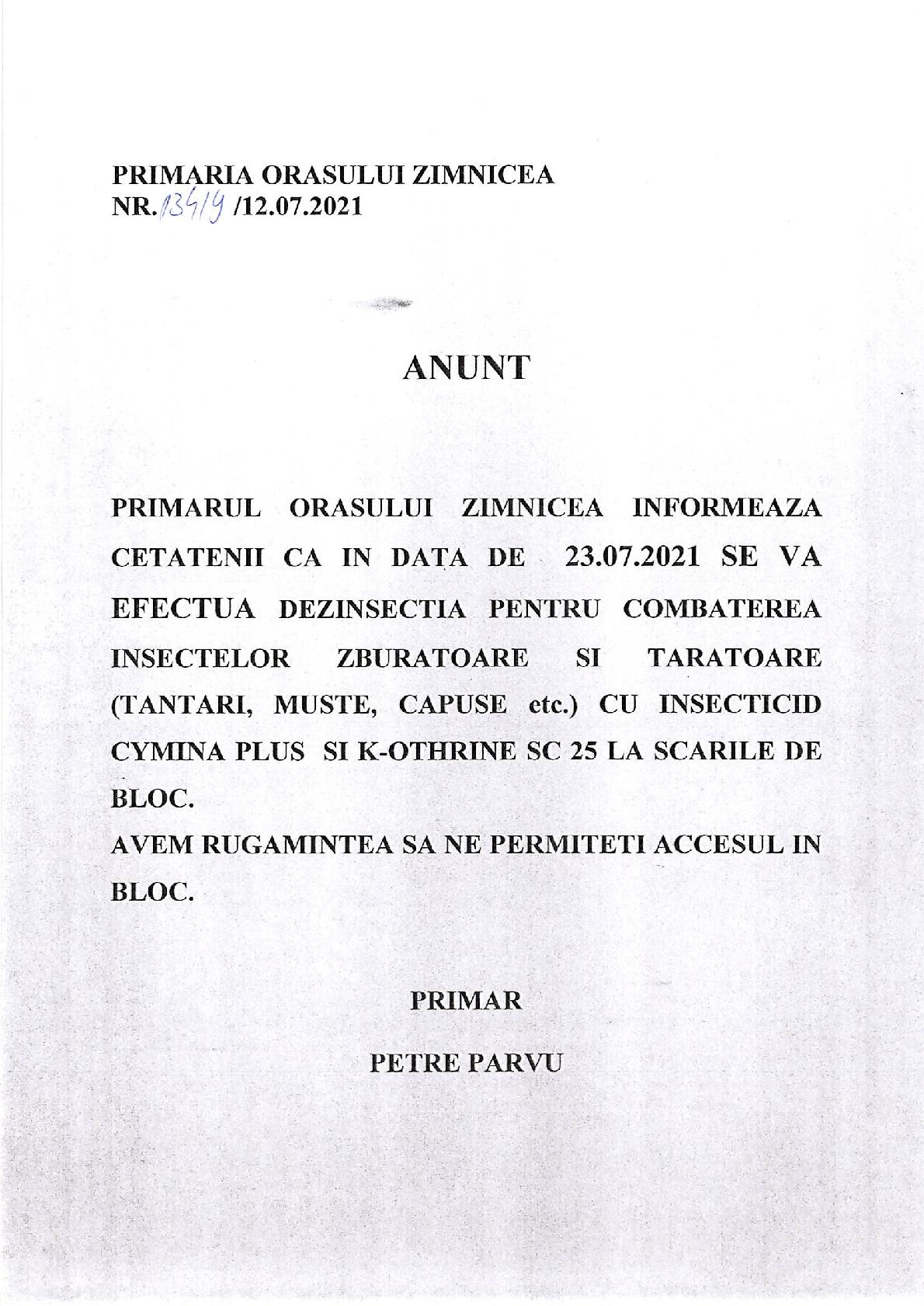 13.07.2021 - Anunț tratament dezinsecție